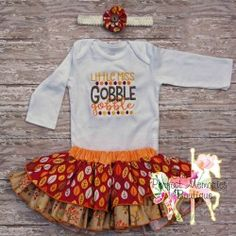 Thanksgiving Outfit. Little Girl Turkey Outfit. Gobble Gobble. Complete set with Embroidered Onesie, Ruffle Skirt, and Headband Accessory.