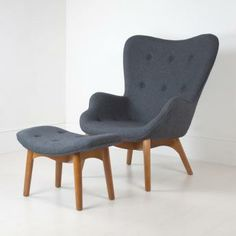 Grant Featherston Lounge Chair and Ottoman in Grey Cashmere