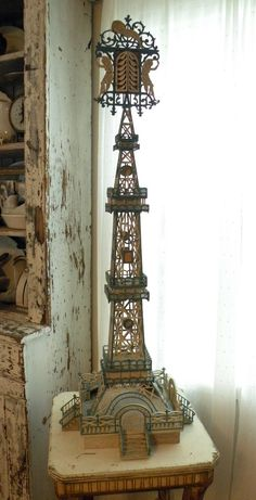 Eiffel Tower tramp art (old cigar boxes)