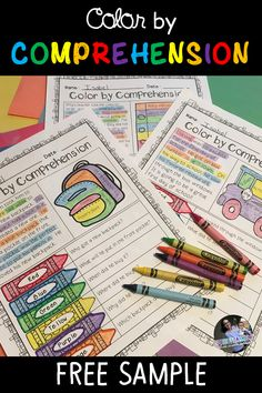 FREE Color by Comprehension Worksheets. If your students enjoy coloring and need a little more help with reading comprehension, this is perfect for you! Students will read a short passage and color in Reading Comprehension Games, Reading Passages, Reading Strategies, Reading Activities, Reading Skills, Kindergarten Reading, Teaching Reading, Guided Reading, Speech Therapy