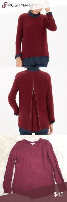 "MADEWELL Back Zip Pullover Sweater Madewell back-zip pullover. A cool, slouchy pullover that's a bit of a shapeshifter. Leave the back zip closed for a more traditional fit or unzip to create a fresh, swingy shape. Approx. measurements - pit to pit 18""; length 24/26"". Madewell Sweaters Crew & Scoop Necks"