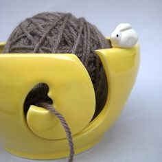 Heart Bunnies Yarn Bowl, Knitting Bowl - Sunflower Yellow - Handmade Stoneware Pottery. $42.00, via Etsy.