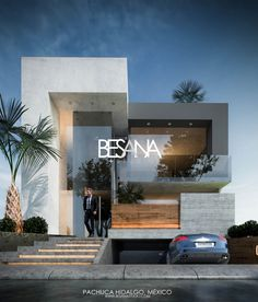 Modern home design Modern House Facades, Modern Architecture House, Modern House Plans, Architecture Design, Bungalow House Design, House Front Design, Facade Design, Exterior Design, Modern Villa Design