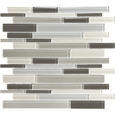 12 Inchx13.5 Inch Ash Linear Glass Mosaics