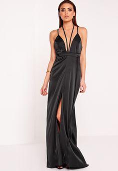 Missguided - Peace   Love Satin Tie Waist Maxi Dress Black