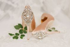 Classic wedding heels for bride - blush heels with embellishment - glam wedding shoes - Read the different ways to describe your wedding style on WeddingWire! {Kristen Booth Photography}