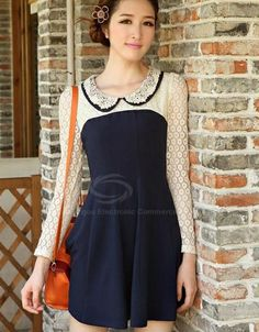 Elegant Style Double Lapel Lace Splicing Long Sleeve Cotton Blend Dress For Women (DEEP BLUE,ONE SIZE) China Wholesale - Sammydress.com