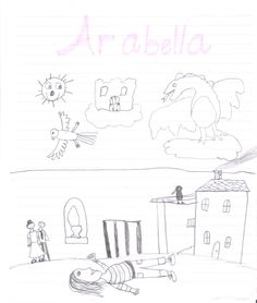 My stepdaughter's imagining of Arabella lying on her lawn watching the world of clouds!