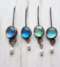 Hair clips. Glass, copper