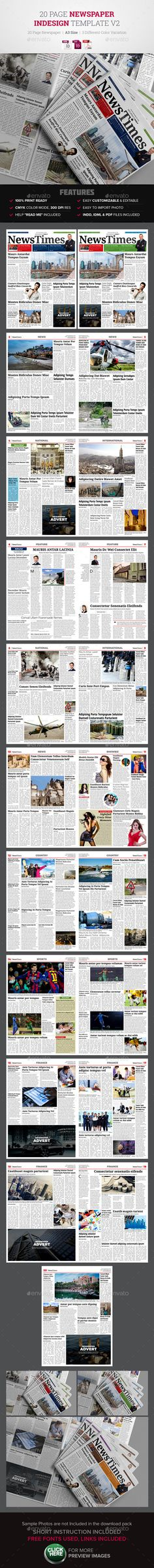 Newspaper Template   Tabloid   Pinterest   Newspaper  Template and     20 Page Newspaper Design v2