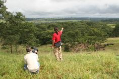Kleber Varnier working on research area in the natureland of General Salgado northwest of SP show in the park of cretacean farm for Japan TV - 2008.