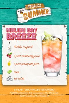 Looking for a drink to help you cool down this summer? The Malibu Bay Breeze is a refreshing cocktail that feels like summer, especially when enjoyed in the sun with friends. To make, fill a chilled glass with ice cubes. Add 1 part Malibu Original, add cranberry & pineapple juice, then a squeeze of lime, and stir. Click for the full recipe and a how-to video!