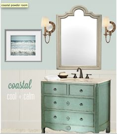 Love the use of old dresser as a vanity.