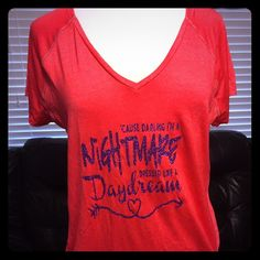 """Tangerine Brand workout top red with Purple grphx This is a reddish colored shirt (red & gray heathered color) with gray stitching and purple glitter graphics """" 'cause darling I'm a nightmare dressed like a daydream"""" size XL never worn or washed but does not have tags Tangerine Tops Tees - Short Sleeve"""