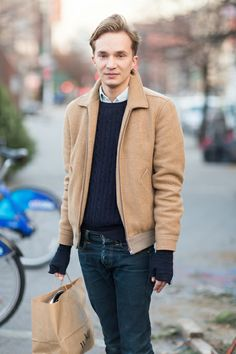 Today's look was spotted on Alex Boutin, an assistant stylist.  Jacket: APC Sweater, shirt: American Apparel Gloves: Barena Jeans: Momotaro