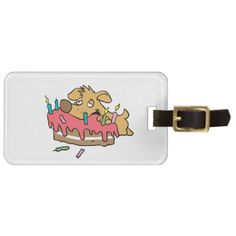 Dog eating birthday cake bag tag - party gifts gift ideas diy customize