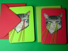 Etsy Laser Cat Cards. #snl #lasers #cats #cards
