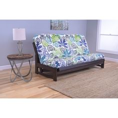 Somette Aspen Futon Frame with Bright Patterned Futon Mattress