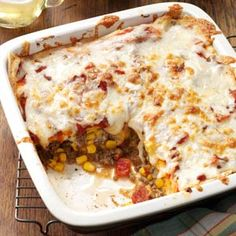 Enchilada Casserole Recipe from Julie Huffman of New Lebanon, Ohio  #Make_Ahead  #Freezer_Meal