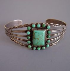 * Fred Harvey style silver and turquoise  Southwestern tourist bracelet. circa 1940