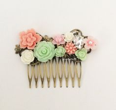 Wedding Hair Accessories Bridal Hair Comb Mint Green Pink Coral Romantic Flower Headpiece Bridesmaids Gift Soft Pastel Collage Rhinestone