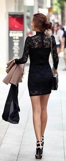 Little black lace dress, street style  dresslily.com
