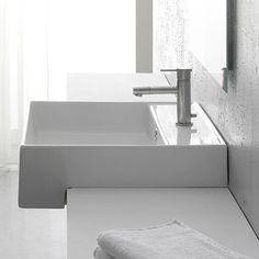 Nameeks Scarabeo White Wall-Mount Rectangular Bathroom Sink with Overflow Contemporary Bathroom Sinks, Modern Bathroom Light Fixtures, Contemporary Baths, Modern Bathroom Decor, Bathroom Furniture, Bathroom Designs, Bathroom Ideas, Garage Bathroom, Handicap Bathroom
