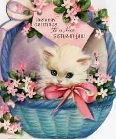 "Marjorie Cooper birthday card kitten ""To a Nice Sister-in-Law"""