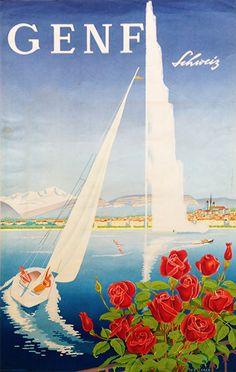 Geneva Lake Switzerland Mahrer Switzerland / 1948 / Travel Posters / W M Mahrer / Budapest, Travel Around The World, Around The Worlds, Geneva Switzerland, Red Rose Flower, Lake Geneva, Vintage Travel Posters, The Originals, Retro