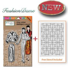 This 4 piece set includes three cling Dame stamps and a coordinating patterned stencil. This set can be used to create a variety of stamping and stenciling effects in your creative, mixed media des...