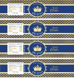 Prince Baby Shower Navy Blue Gold Glitter Print Yourself Water