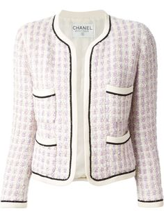 Chanel Lavander & White Tweed Jacket #BlackDetails #ChanelClassicJacket @Farfetch