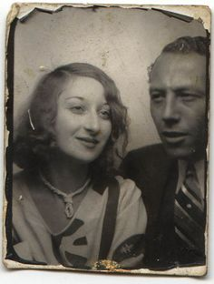 +~ Vintage Photo Booth Picture ~+  Young couple