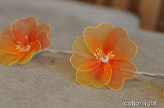 20 handmade orange Nylon Rose floral Flower LED by cottonlight