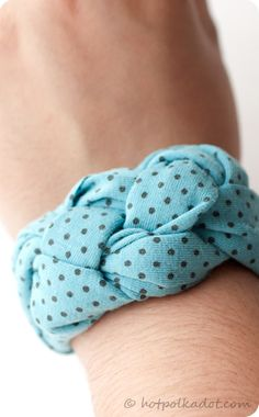 Make a knotted bracelet from an old (or new) tshirt @Jessica Walters made me think of you!