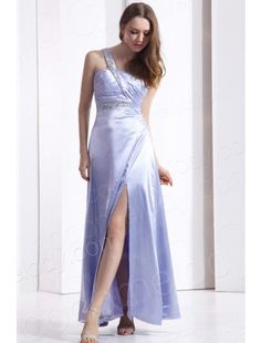 One Shoulder  Purple Evening Dress