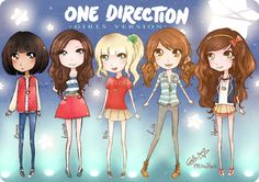 One Direction as girls. Funny or creepy? Since their eyes are approx. the size of their bodies, I go with creepy.