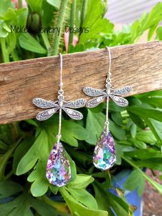 Dragonfly charms, Lavender purple Swarovski crystals, sterling silver earrings. McKee Jewelry designs