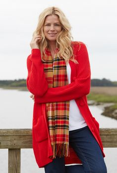 A classic shaker cardigan looks amazing enhanced with a plaid scarf.  Plus Size Fashion from Woman Within.