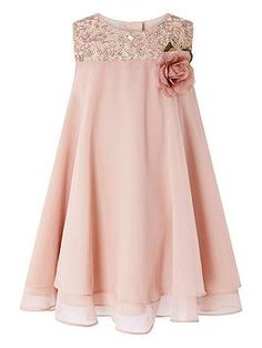 Buy Monsoon Children Pink Baby Rosie Flare Dress from Next USA - The most beautiful children's fashion products Little Girl Dresses, Girls Dresses, Flower Girl Dresses, Dresses For Children, Party Dresses, Dress Anak, Kids Dress Patterns, Kind Mode, Flare Dress