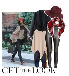 """""""Get The Look: Elizabeth Olsen"""" by misty87 ❤ liked on Polyvore featuring H&M, Gap, Topshop, Burberry, GetTheLook, Leather, Oxfords and Fedora"""