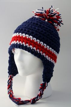 Earflap Hat Hand Crocheted in Red White and Blue with Pom Pom | blackberrythyme - Accessories on ArtFire