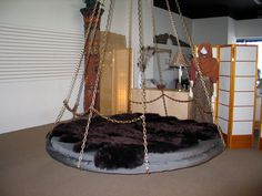 Floating Bed with chain link back rest -can support pillows for sofa use.