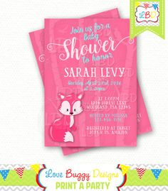 Woodland Baby Shower Invitation Fox  Style 6  by lovebuggydesigns