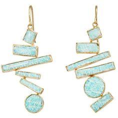 Judy Geib Women's Suprematist Drop Earrings (130,380 DOP) ❤ liked on Polyvore featuring jewelry, earrings, accessories, schmuck, gold, geometric earrings, handcrafted jewellery, geometric jewelry, 18 karat gold earrings and handcrafted earrings