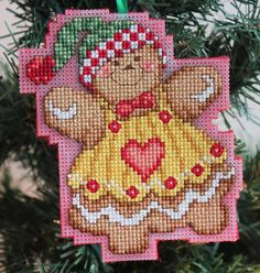 Cross Stitch Christmas Ornament  Gingerbread Girl by britto801, $6.00