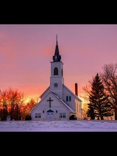 Church with sunset background. Gorgeous.