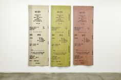 Gabriel Kuri, Trinity (Voucher in triplicate), Three hand-woven wool tapestries. Each 334 x 118 cm. Appropriation Art, Gabriel, Retail Supplies, Collage Making, New Museum, Mexican Artists, A Level Art, Fibres, American Art