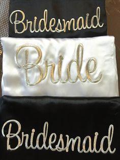 Custom made satin wedding robes so elegant in black and white. Cerise Pink, Satin Sash, Things To Come, Bridesmaid, Colours, Black And White, Elegant, Purple, Wedding