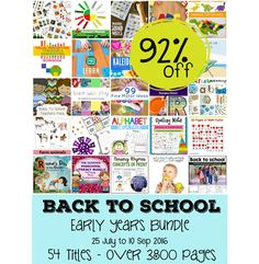 Back to School: Early Years Bundle -- 54 Titles with over 3800 pages of…